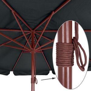 Deuba Sonnenschirm aus Holz - Ø 330cm Schwarz