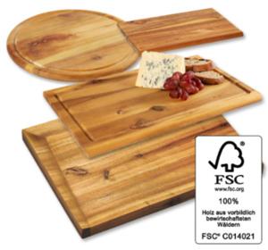 KESPER Akazienholz- Frühstücksbrettchen, Fleischteller oder Tranchierbrett