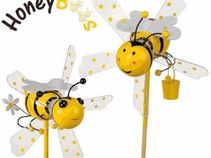 Happy People Windmühle Honigbiene, sehr groß ,  17x15cm, lose, Stab: 48,5 cm