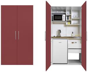 Schrankküche in Weiss/Rot mit Mikrowelle 'Economy'