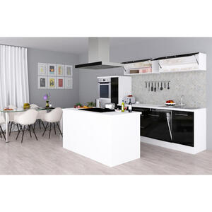 MID.YOU Einbauküche , Premium Rp310Iwsc , Weiß , 8 Schubladen , 310x200x270 cm , Melamin,Nachbildung , Frontauswahl, links aufbaubar, rechts aufbaubar , 001899004303
