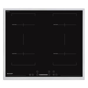 Sharp Backofenset schwarz, edelstahlfarben , Sharp Set60Dx19B6Ix38F , Metall, Glas , 59.5x65.1x57.5 cm , Kindersicherung, Digitaldisplay, Elektronikuhr, Restwärmeanzeige je Kochzone, Sicherheitsabsc