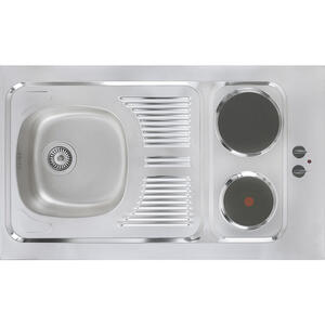 MID.YOU Miniküche e-geräte, spüle , Mk100Esrs , Eichefarben , Metall , 100 cm , Melamin,Nachbildung , Frontauswahl, links aufbaubar, rechts aufbaubar , 001899006513