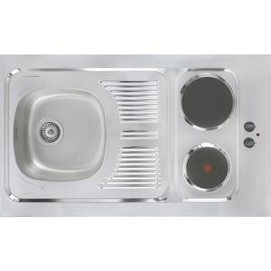 MID.YOU Miniküche e-geräte, spüle , Respekta Mk100Wossv , Weiß , Metall , 100 cm , Melamin,Nachbildung , links aufbaubar, rechts aufbaubar , 001899006501
