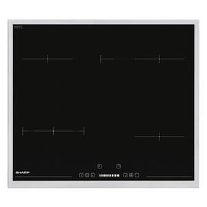 Sharp Backofenset schwarz, edelstahlfarben , Sharp Set60Dx19B6Vx09F , Metall, Glas , 59.5x63.6x57.5 cm , Kindersicherung, Digitaldisplay, Elektronikuhr, Restwärmeanzeige je Kochzone, Sicherheitsabsc