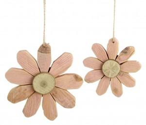 TrendLine Holz Blume Hänger ,  13 x 3 cm