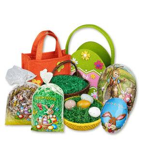Ostergras, Körbe, Taschen oder Fülleier