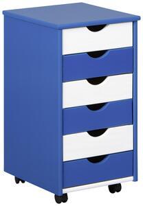 Rollcontainer in Blau/Weiß