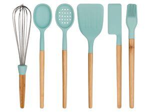 ERNESTO® Küchenhelfer-Set, 6-teilig, mit Bambusgriff, Funktionsteil aus Silikon