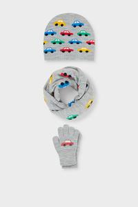 C&A Auto-Set-Schal, Mütze und Handschuhe, Grau, Größe: 98/104