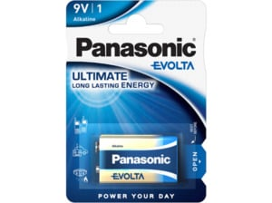 PANASONIC 6LR61EGE/1BP Evolta 9 Volt Batterie, Alkaline,