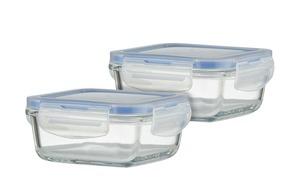 Aufbewahrungsdose, 2er-Set aus Glas, 330 ml, quadratisch
