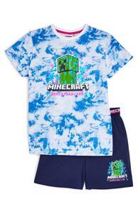 "Marineblauer kurzer ""Minecraft"" Pyjama in Batikoptik (Teeny Boys)"
