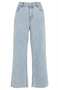 Verkürzte Jeans in heller Waschung mit weitem Bein