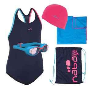 Schwimm-Set 100 Start Mädchen Badeanzug, Brille, Kappe, Handtuch, Tasche