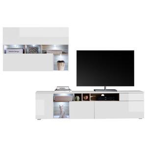Livetastic Wohnwand weiß, sonoma eiche , NEW Vision 18 , Holzwerkstoff , 3,1 Fächer , 1 Schubladen , 275x190x38 cm , Nachbildung , 001107007701