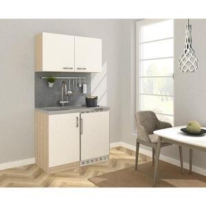 MID.YOU Miniküche e-geräte, spüle , Mk100Eswoss , Eichefarben , Metall , 100 cm , Melamin,Nachbildung , Frontauswahl, links aufbaubar, rechts aufbaubar , 001899006504