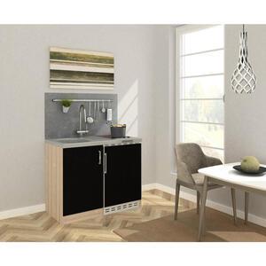 MID.YOU Miniküche e-geräte, spüle , Mk100Esscs , Eichefarben , Metall , 100 cm , Melamin,Nachbildung , Frontauswahl, links aufbaubar, rechts aufbaubar , 001899006518