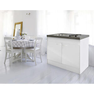 MID.YOU Miniküche e-geräte, spüle , Pantryoks , Weiß , Metall , 100 cm , Melamin,Nachbildung , 001899006401