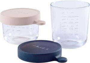 2er Set Portionsbehälter aus hochwertigem Glas (150 ml rosa / 250 ml dunkelblau) rosa/blau