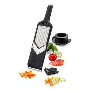 Gefu Gemüsehobel , 50441 , Schwarz, Edelstahlfarben , Metall, Kunststoff , 8x2.2x32.2 cm , mit Fingerschutz, mit Haltestab, auch für andere Obst- und Gemüsesorten geeignet, für schnelles und sich