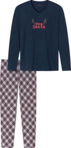 Schiesser Single-Jersey Herren-Schlafanzug  Karo langarm#lange Hose 56