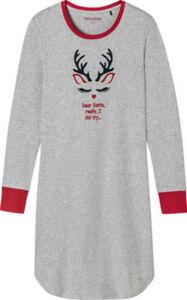 Schiesser Interlock-Jersey Damen-Nachthemd  gemustert langarm 38