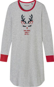 Schiesser Interlock-Jersey Damen-Nachthemd  gemustert langarm 44