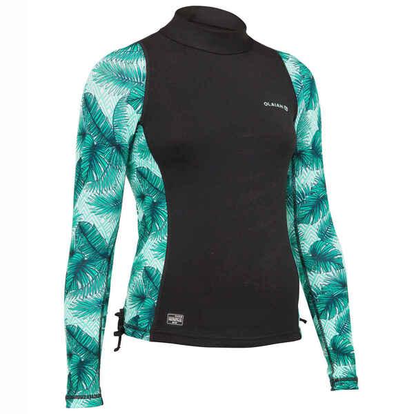 UV-Shirt Langarm UV-Top 500 Aisau Kinder Mädchen schwarz/grün