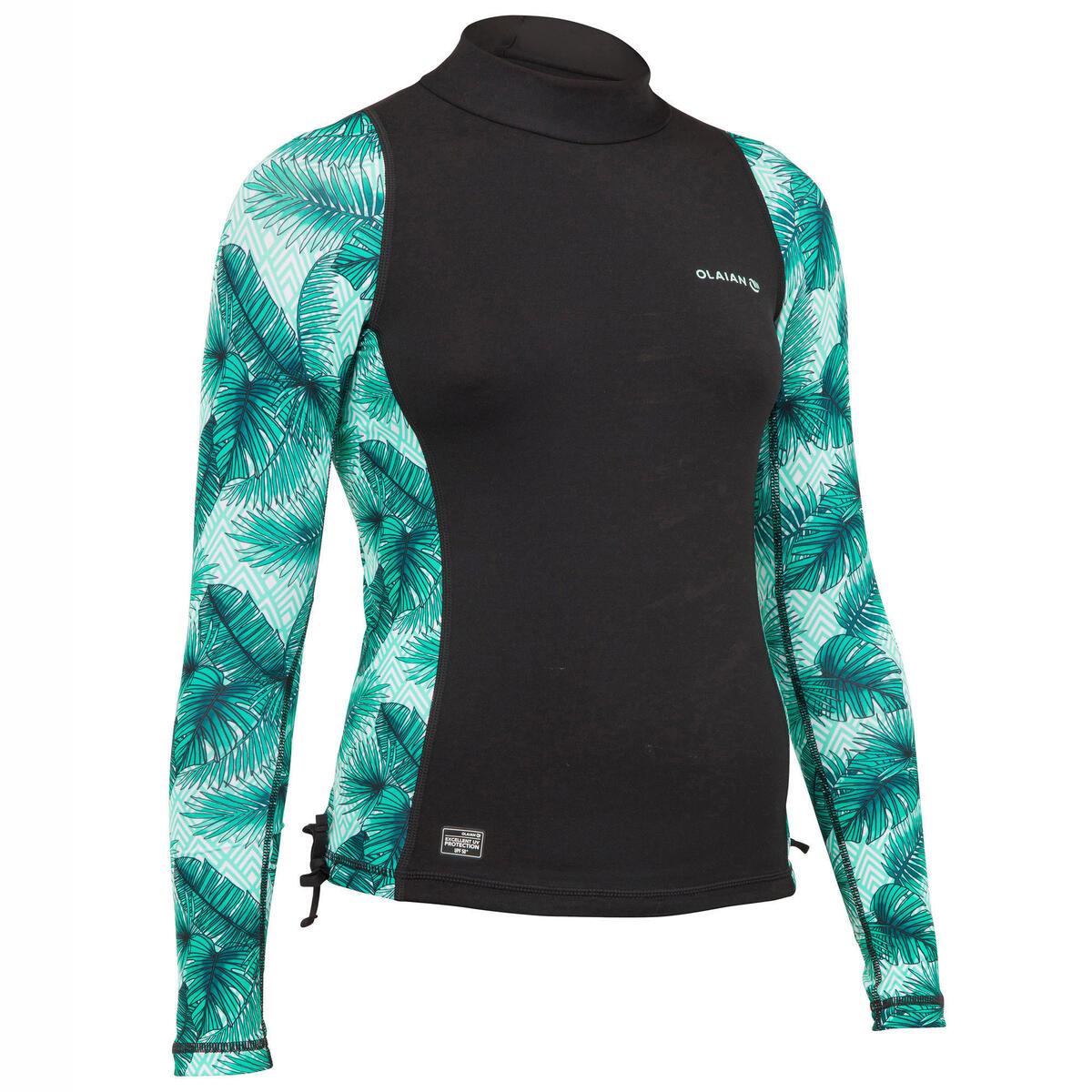 Bild 2 von UV-Shirt Langarm UV-Top 500 Aisau Kinder Mädchen schwarz/grün