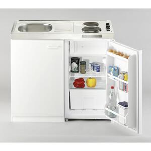 MID.YOU Miniküche e-geräte, spüle , Pantry100Sv , Weiß , Metall , 100 cm , Melamin,Nachbildung , links aufbaubar, rechts aufbaubar , 001899006402