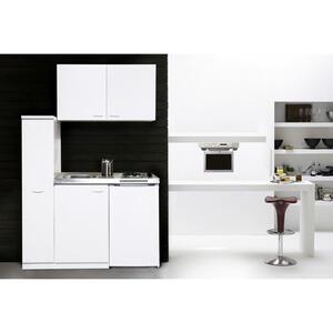MID.YOU Miniküche e-geräte, spüle , Respekta Mk130Wossv , Weiß , Metall , 130 cm , Melamin,Nachbildung , links aufbaubar, rechts aufbaubar , 001899006801