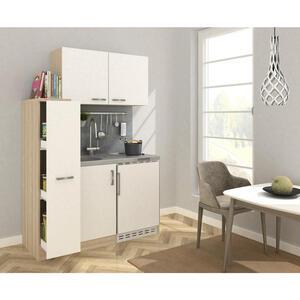 MID.YOU Miniküche e-geräte, spüle , Mk130Eswoss , Eichefarben , Metall , 130 cm , Melamin,Nachbildung , Frontauswahl, links aufbaubar, rechts aufbaubar , 001899006901