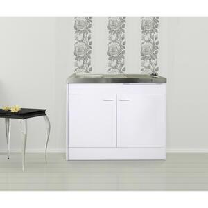 MID.YOU Miniküche e-geräte, spüle , Respekta Pantryokcs , Weiß , Metall , 100 cm , Melamin,Nachbildung , 001899006403