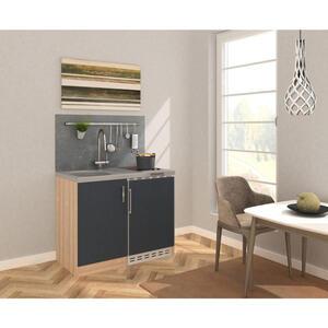 MID.YOU Miniküche e-geräte, spüle , Mk100Esgcs , Eichefarben , Metall , 100 cm , Melamin,Nachbildung , Frontauswahl, links aufbaubar, rechts aufbaubar , 001899006519