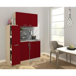 MID.YOU Miniküche e-geräte, spüle , Mk130Esross , Eichefarben , Metall , 130x146x60 cm , Nachbildung , Frontauswahl, links aufbaubar, rechts aufbaubar , 001899006902