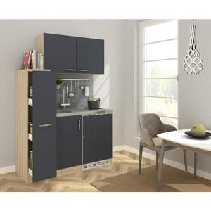 MID.YOU Miniküche e-geräte, spüle , Mk130Esgoss , Eichefarben , Metall , 130 cm , Melamin,Nachbildung , Frontauswahl, links aufbaubar, rechts aufbaubar , 001899006904