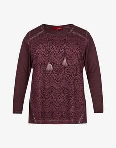 Thea - Shirt mit Spitze und Paillettenbesatz, Oil-Dyed-Optik