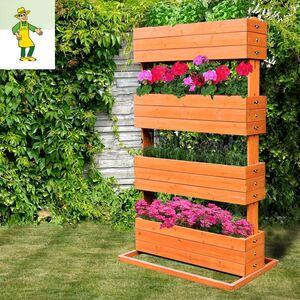 Grüner Jan Pflanzenständer mit 4 Kästen aus Tannenholz 145cm