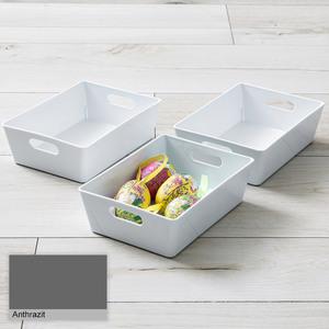 Toptex Ordnung Sichtlagerboxen, je ca. 12 x 16,5 x 5 cm - Anthrazit, 3er-Set
