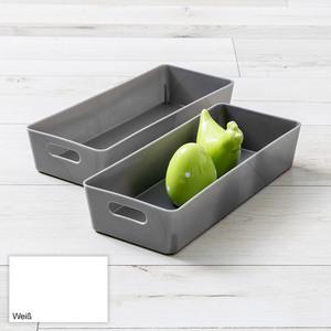 Toptex Ordnung Sichtlagerboxen, je ca. 30 x 12,5 x 6 cm - Weiß, 2er-Set