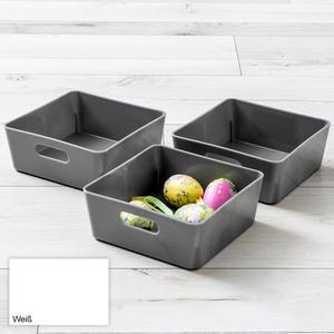 Toptex Ordnung Sichtlagerboxen, je ca. 15 x 15 x 6 cm - Weiß, 3er-Set