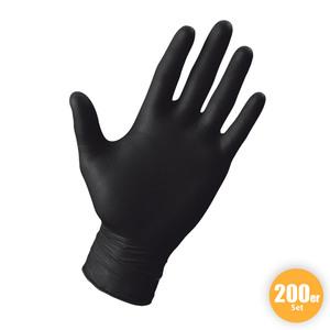 Multitec XXL-Latex-Handschuhe, Größe L - Schwarz, 200er-Set