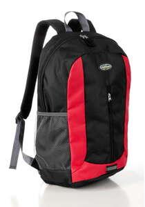 City Survival Rucksack mit Regenschutzhülle - Schwarz/Rot