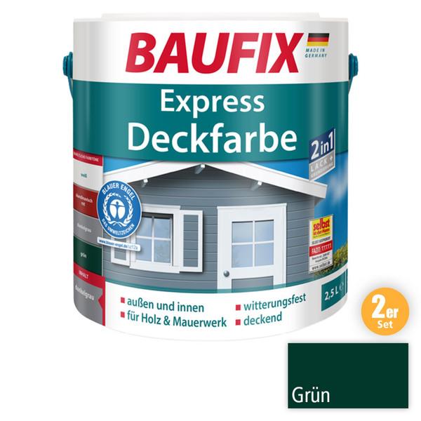 BAUFIX 2in1 Express Deckfarbe grün 2,5 L 2er Set