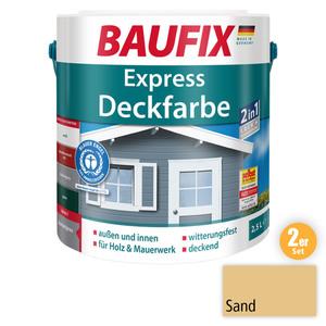 BAUFIX 2in1 Express Deckfarbe sand 2,5 L 2er Set