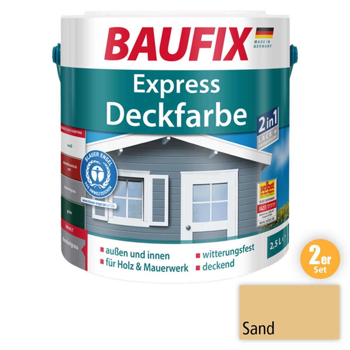 Bild 1 von BAUFIX 2in1 Express Deckfarbe sand 2,5 L 2er Set