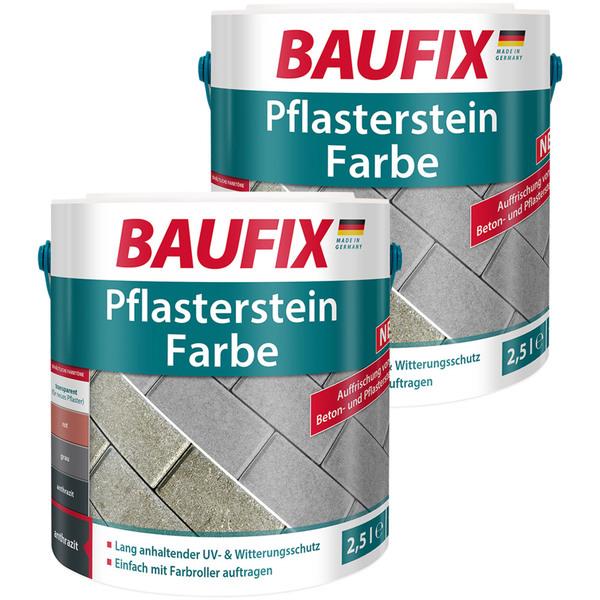 BAUFIX Pflasterstein Farbe anthrazit 2,5L 2er Set
