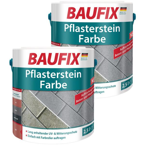 BAUFIX Pflasterstein Farbe rot 2,5L 2er Set