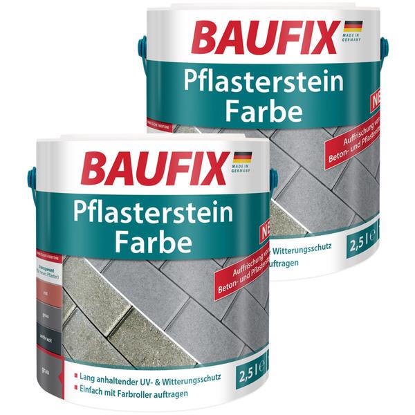BAUFIX Pflasterstein Farbe grau 2,5L 2er Set